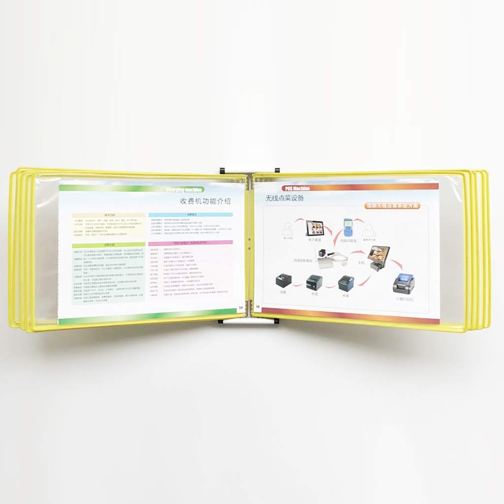 VIP Customer Information A4 File flip Folder Wall-Mounted Loose-Leaf Transparent Page Display 10 Pages(PVC + Metal) 332310CM (Color : E)