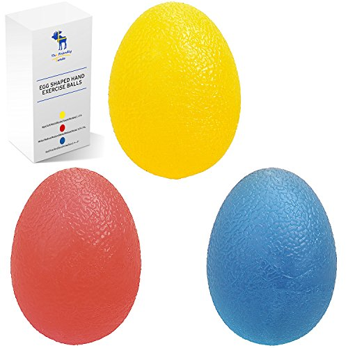 El sueco amigable mano Squeeze ejercicio bolas Combo Kit, conjunto de 3, huevo formado, para el alivio del estrés y un agarre más fuerte