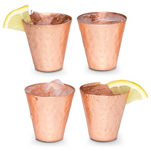 Moscow mule shot glasses - Copper shot glasses set of 4-2oz hammered solid copper shot cups for ice cold vodka, tequila, whisky. ()