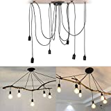 Pendant Light Holder Without Bulbs,6 Heads Industrial Vintage Style Spider Pendant Lighting Chandelier Holder Ceiling Lamp Hanger for Kitchen Living Room Bar Hotel Restaurant