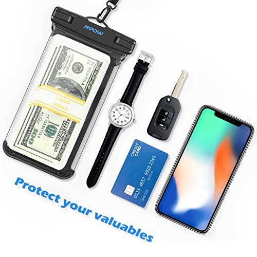 Mpow Waterproof Phone Pouch, Full Transparency IPX8 Waterproof Case with Adjustable Lanyard Universal Dry Bag Compatible for iPhone X/8/8P/7/7P, Galaxy S9/S9P/S8P/Note 8, Google/HTC up to 6.0'' 2-Pack by Mpow (Image #9)