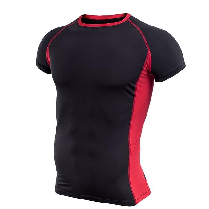ZKOO Hombres Camisetas Deportivas Mangas Corta Compresión Baselayer Fitness Secado Rápido Slim T Shirt Tops