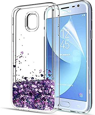 best service 1bb53 ea80b LeYi Galaxy J3 2017 Case with Screen Protector, Girl Women 3D Glitter  Liquid Moving Cute Luxury Personalised Clear Silicone Gel TPU Shockproof  Phone ...