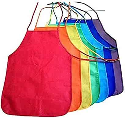 Multicolored Kids Artists Apron Set of 6 Open Back Sleeveless Art Craft Smock Aprons | Children's Assorted Variety Pack of 6 Colorful DIY Protective Reusable Kitchen | Painting Aprons Ages 3 and Up