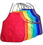 Multicolored Kids Artists Apron Set of 12 Open Back Sleeveless Art Craft Smock Aprons | Children's Assorted Variety Pack of 12 Colorful DIY Protective Reusable Kitchen | Painting Aprons Ages 3 and Up
