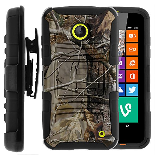 Nokia Lumia 635 Case, Nokia Lumia 630 Case, Two Layer Hybrid Armor Hard Cover with Built in Kickstand and Holster Belt Clip for Nokia Lumia 635, 630 (AT&T, Sprint, T Mobile, Cricket, Virgin Mobile, Boost Mobile, MetroPCS) from MINITURTLE | Includes Screen Protector - Fallen Leaves Camouflage