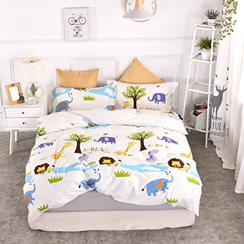 Chesterch Prevoster Kids Duvet Cover Set 100% Organic Cotton,Cartoon animals Cute Bedding Boys Reversible Comfortable,3 Pieces Comforter Cover and 2 Pillowcases,Twin Size by Chesterch Prevoster (Image #7)