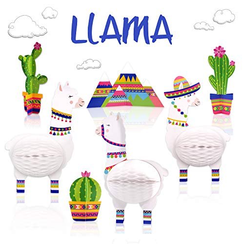 7PCS Llama Cactus Centerpieces Party Supplies, Llama Themed Birthday Party Decoration, Baby Shower Llama Honeycomb Birthday Party Decorations -