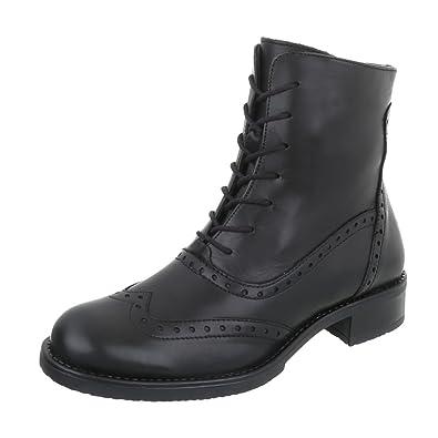 Ital-Design Schnürstiefeletten Leder Damen-Schuhe Schnürstiefeletten  Blockabsatz Schnürer Reißverschluss Stiefeletten Schwarz, Gr