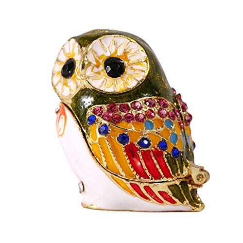 YUFENG Hand Painted Enameled Owl Style Decorative Hinged Jewelry Trinket Box Unique Gift for Home ()