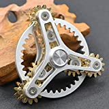 Pure Brass Fidget Spinner Gears Linkage Fidget Gyro Toy Metal DIY Hand Spinner Spins Long Time EDC Focus Meditation Break Bad Habits ADHD With Multiple Premium Bearings (13 Bearings White)