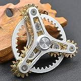 Pure Brass Fidget Spinner Gears Linkage Fidget Gyro Toy Metal DIY Hand Spinner Spins Long Time EDC Focus Meditation Break Bad Habits ADHD With Multiple Premium Bearings (13 Bearings White)