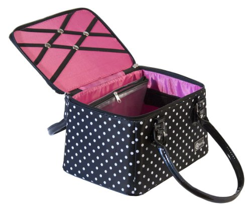 Creative Options 700-361 Crafter's Tapered Tote, Black with White Dots and Magenta Interior