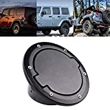 Tuhoomall Jeep Gas Cap Cover Satin Black Powder Coated Steel, Jeep Wrangler Accessories & Jeep Wrangler Unlimited Accessories, Jeep Wrangler 07-16 Sport Rubicon Sahara (Without Jeep Logo)