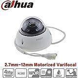 Dahua PoE Dome Camera HDBW4433R-ZS 4MP 2.7Mm~12Mm Varifocal Motorized Zoom IP67 Onvif Ip Camera WDR IK10 Indoor Outdoor Security Surveillance Camera International Version