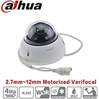 Dahua PoE Dome Camera HDBW4431R-ZS 4MP 2.7Mm~12Mm Varifocal Motorized Zoom IP67 Onvif Ip Camera WDR IK10 Indoor Outdoor Security Surveillance Camera International Version