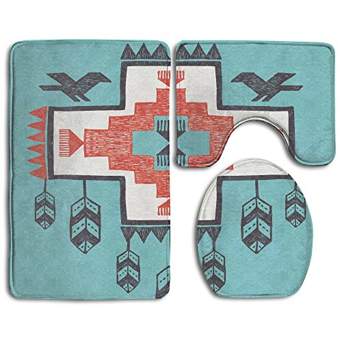 (SarahKen Bathroom Rug Native Ethnic Indian Aztec Hand Drawn Dreamcathcher Folkloric Icons Birds 3 Piece Bath Mat Set Contour Rug And Lid Cover)
