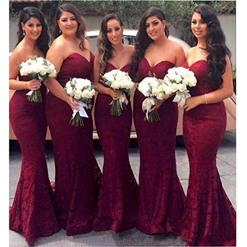 DingdingMail Burgundy Lace Bridesmaid Dresses 2017 Plus