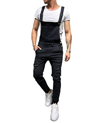 ae253b11a09e lisenraIn Men's Denim Bib Overalls Fashion Ripped Jeans Slim Jumpsuit with  Pockets (Black, ...