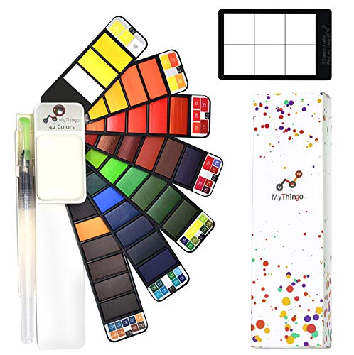 Watercolor Paint Set - 42 Assorted Colors with Water Brush and ViewFinder