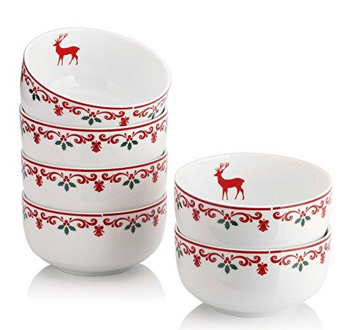 DOWAN 10-Ounce Christmas Porcelain Bowl Set - 6 Packs,White (Christmas Bowl)