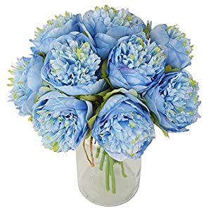 Lvydec Vintage Peony Artificial Flowers - 2 Pack Silk Flowers Bouquet 10 Heads Peony Fake Flowers for Wedding Home Decoration 1