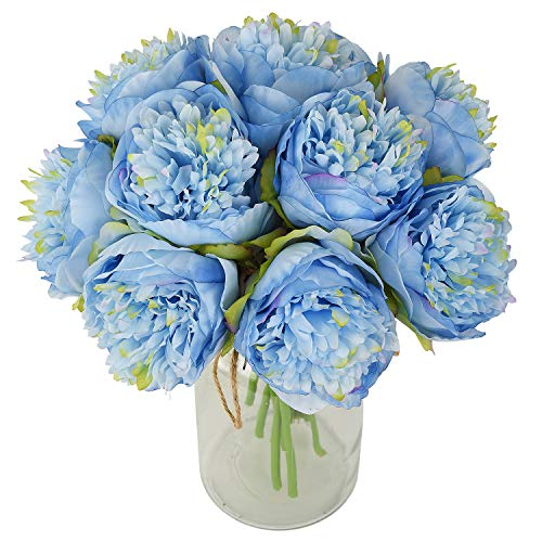 Lvydec Vintage Peony Artificial Flowers - 2 Pack Silk Peony Bouquet with 10 Flower Heads for Wedding Home Decoration (Blue)