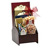 Wooden Desk Caddy Gift Basket with Assorted Sweets, Cookies and Nuts