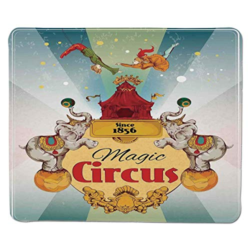 SCOCICI Mouse pad - Gaming Mouse pad - Magic Circus Tent Show Announcement Vintage Style Aerialist Acrobat Professional Control Gaming Mouse Pad Locking Edge Game Mat 11.8x9.8x0.1 inch