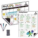 "Magnetic Dry Erase Calendar 2 Packs Monthly Calendar & Weekly Planner 17"" x 12 for Kitchen Refrigerator-Best for Smart Planners 3 Markers,1 Eraser"