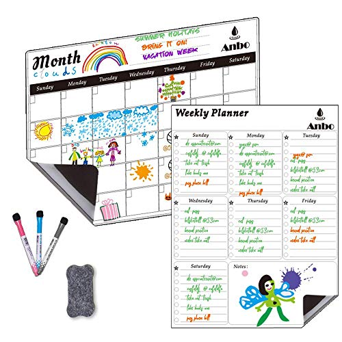 "Magnetic Dry Erase Calendar 2 Packs Monthly Calendar & Weekly Planner 17"" x 12 for Kitchen Refrigerator-Best for Smart Planners 3 Markers,1 Eraser"