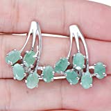 Eloquent-Natural-Emerald-Gemstones-Womens-925-Sterling-Silver-Post-Earrings