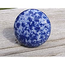 Beau Ceramic Cabinet Knob Blue And White Speckled Enamelware Set Of 10