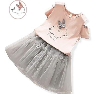 Unicorn Rainbow Girls Princess Short Sleeve T-shirt Dress Summer Tunic Age 3-7Y