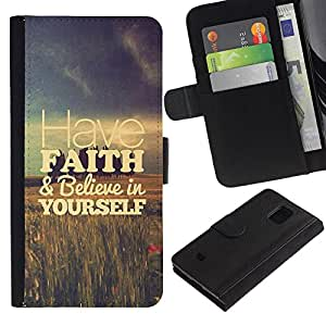 Billetera de Cuero Caso Titular de la tarjeta Carcasa Funda para Samsung Galaxy S5 Mini, SM-G800, NOT S5 REGULAR! / have faith fields vignette motivational / STRONG