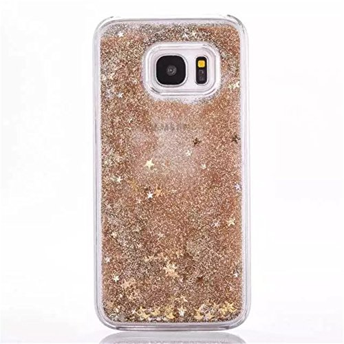 Price comparison product image Galaxy S6 Edge Plus Liquid Case,New Sparkle Moving Stars Creative Design Dynamic Shiny Quicksand Flowing Liquid Floating Luxury Bling Glitter Plastic Case for Samsung Galaxy S6 Edge Plus (Gold)