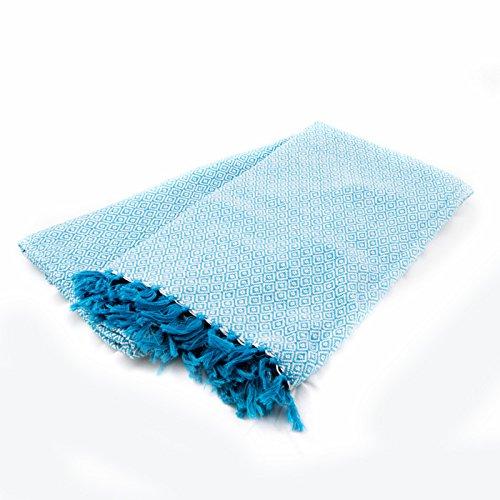 [Sansukjai 100% Cotton Blue Soft Hand Woven Blanket Mattress Cover Size 110 cm x 200 cm] (Baby Mama Movie Costume)