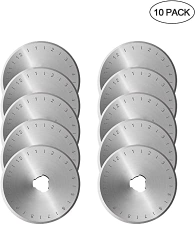 EUYOUZI 45mm Rotary Cutter Blades Set - Pack of 10, Carbon Steel SKS7 Rotary Replacement Blades with Scale - Sharp&Durable, Fits OLFA,Fiskars,Dremel,Truecut,DAFA Cutter Replacement (10 Pack D45mm): Amazon.es: Hogar