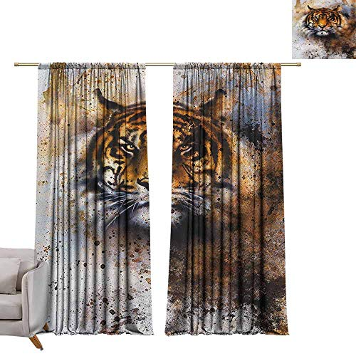 berrly Window Curtain Drape Tiger,Wild Beast Looking Straight into The Eyes of The Viewer Angry Looking Panthera Tigris, Multicolor W84 x L84 Room Darkening Wide Curtains