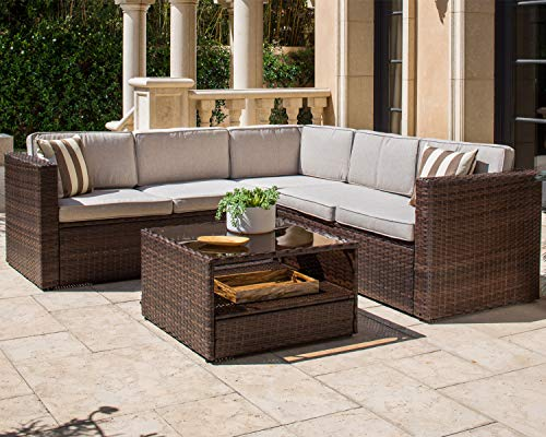 Solaura Patio Furniture Set 4-Piece Outdoor Sofa Set Brown Wicker Furniture with Beige Cushions & Glass Coffee Table
