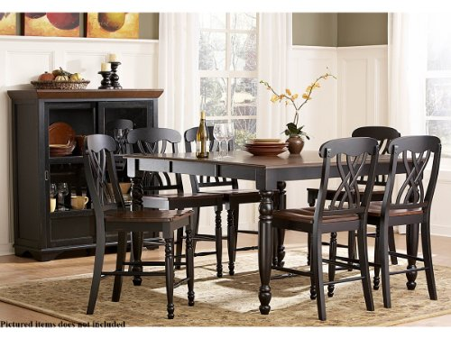 Ohana 5 Piece Counter Height Table Set by Homelegance in 2 Tone Antique Black & Warm Cherry - Homelegance Cherry Dining Table Set