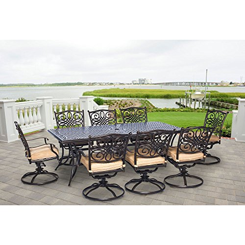 Hanover TRADDN9PCSW-8 Traditions 9 Piece Dining Set Outdoor Furniture, Bronze Frame, Tan (Home Depot Set Patio Dining)