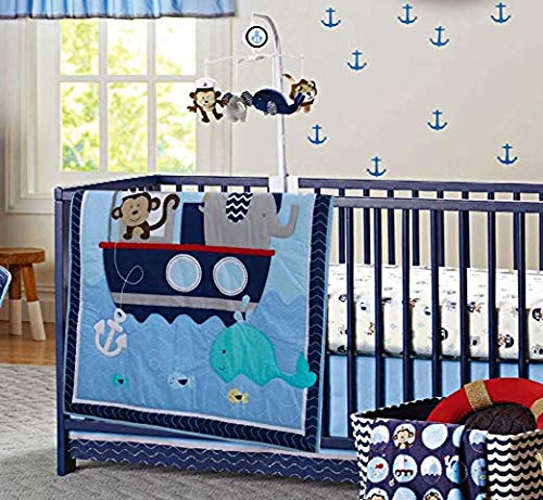 MalAk 3 Pieces Crib Bedding Set for Boys Lion & Elephants & Giraffe & Monkey Cute Animal Designs (Blue)