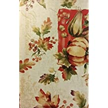 "Bountiful Harvest Foilage, Gourds and Pumpkins Vinyl Flannel Back Tablecloth (52"" x 90"" Oblong)"