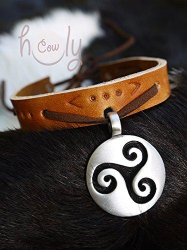 Handmade Leather Collar Simple Celtic Spiral Symbol Pendant