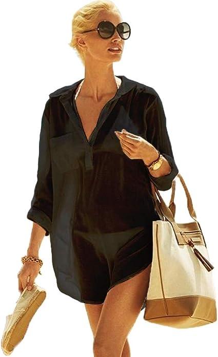 Zoye Chen Bikini Cover Up, Blusa de Algodón para Mujer Trajes de Baño Cubrir Tapa de Playa Borla Traje de Baño Cover para Playa (CP-CT) (Camisa Negra): Amazon.es: Ropa y accesorios