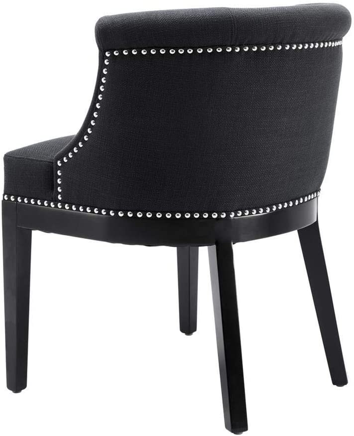 Amazon Com Black Upholstered Dining Chair With Metal Studs Eichholtz Boca Grande Modern Luxury Kitchen Dining Room Furniture Chairs