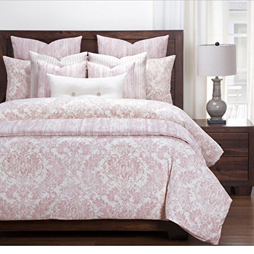 6 Piece Damask Floral Design Duvet Cover Set Cal King Size, Featuring Beautiful Rose Flower Pattern Comfortable Bedding, Modern French Country Inspired Chic Girls Bedroom Decoration, Pink, White by SE