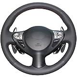 xuji steering wheel cover - Hand Sewing Black Genuine Leather Steering Wheel Cover for 2009 2010 2011 2012 2013 FX35 / 2013 FX37 / 2009 2010 2011 2012 2013 FX50 / 2014 2015 2016 QX70 / 2011 2012 2013 2014 2015 Nissan Juke / 2009 2010 2011 2012 2013 2014 Nissan Maxima