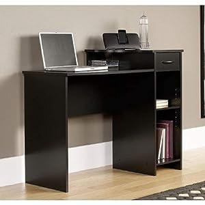 Mainstays Student Desk - Home Office Bedroom Furniture Indoor Desk - Easy Glide Accessory Drawer (Desk Only, Rodeo Oak) (Desk Only, Blackwood)